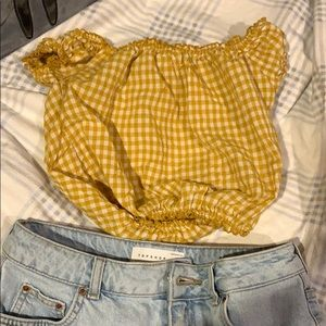mustard checkered top